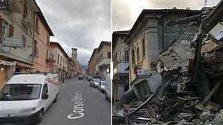 AVANT/APRÈS- le village d'Amatrice totalement détruit après le puissant séisme (vidéo) 3