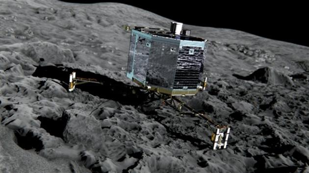 On a retrouvé Philae!- Laurence SAUBADU Alain BOMMENEL Iris de VERICOURTVue d'artiste du robot spatial Philae sur la comète Tchouri- MEDIALIAB