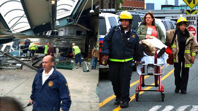 un train s 39 encastre dans une gare de la banlieue de new york au moins trois morts et plus d 39 une. Black Bedroom Furniture Sets. Home Design Ideas