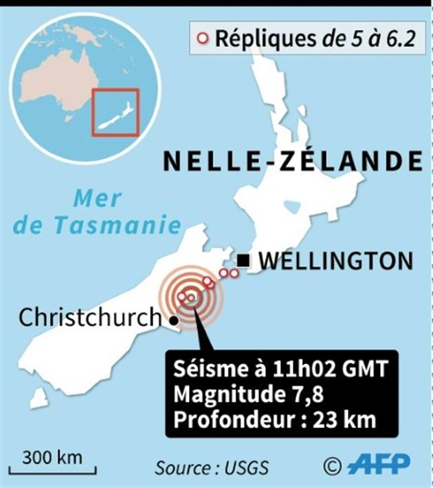 Nouvelle-Zélande: alerte au tsunami après un fort séisme