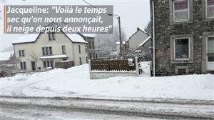 """La neige s'invite par surprise ce lundi sur une bonne partie de la Wallonie: """"Tout blanc en un quart d'heure"""""""