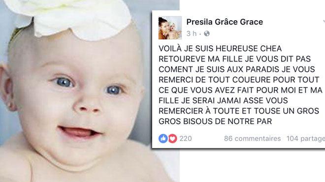 Bébé enlevé à Estinnes- la mère confirme que l'enfant retrouvé vivant hier soir près d'Anvers est bien sa fille 1
