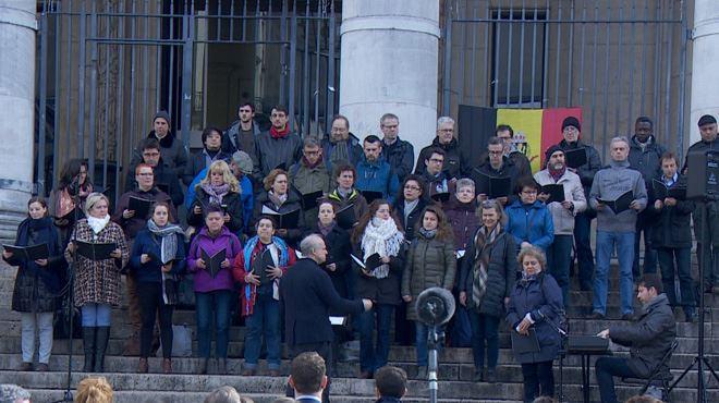 22 MARS, UN AN- Le choeur de la Monnaie chante pour les victimes des attentats
