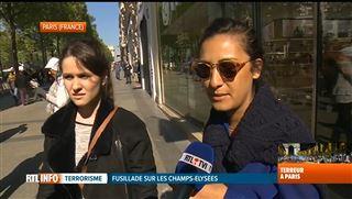 Attaque de Paris- l'ambiance est lourde, sur les Champs-Elysées