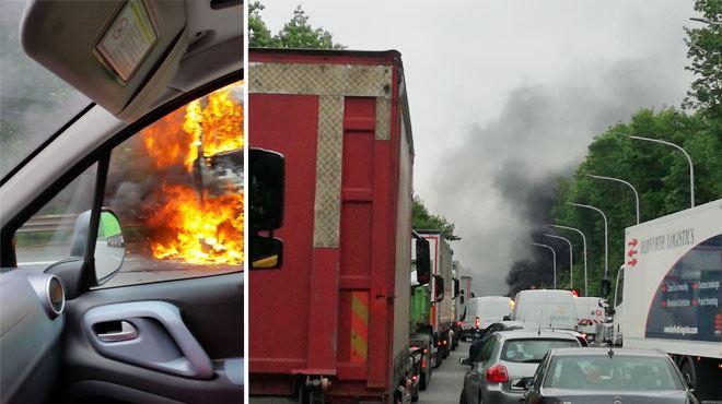 La E19/E42 fermée ce matin à cause d'un camion en feu- toujours de longues files (photos) 1