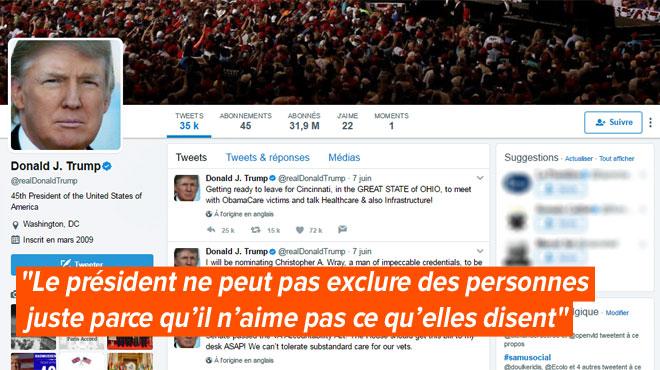 Trump les bloque sur Twitter, ils le menacent de procès