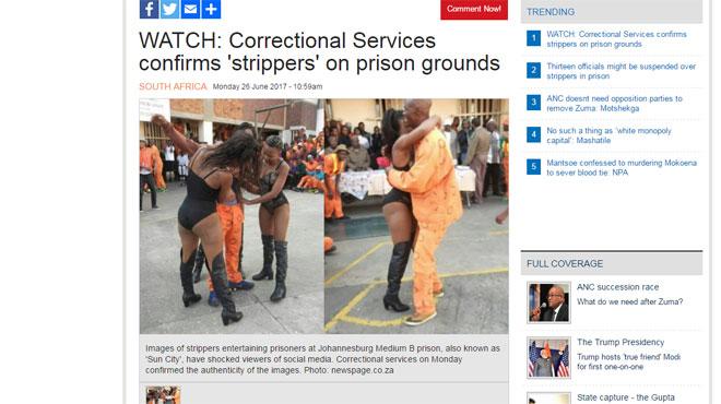 Un strip-tease en prison fait scandale en Afrique du Sud